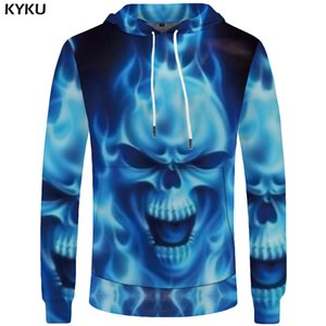 KYKU Brand Skull Sweatshirt Women Flame Sweatshirts Punk Hoodies Rock Casual Cool Pocket Large Size Big sweatshirt 3d on Sale