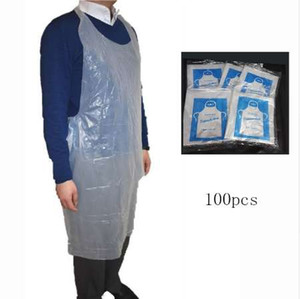 100pcs set Cooking Cleaning Plastic Aprons Disposable Apron Transparent Easy Use Kitchen Aprons For Women Men Kitchen