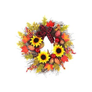 Wholesale 45 cm Door Wall Hanging Wreath Christmas Sunflower Maple Leaf Garland Thanksgiving Gifts Ornament Party Decoration Accessories
