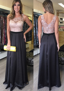 Pink Black Modest Boat Neck Top Lace Evening Dresses V Back Sash Column Prom Party Dress For Women Garden Cheap Floor Length Pageant on Sale