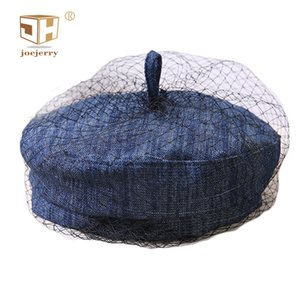 JOEJERRY Newsboy Cap Vintage Veil Hats Beret Female Navy Blue Denim Hats For Girls Party Wedding