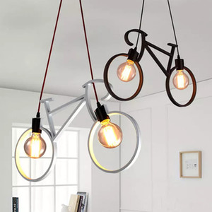 ingrosso cavi neri per ciondoli-Retro Nordic Modern Iron Bicicletta Bicicletta Chandelier Cafe Lighting LED Loft Bar Lampada da soffitto Camera da letto Droplight Store Home Decor Gift Pendant Lights