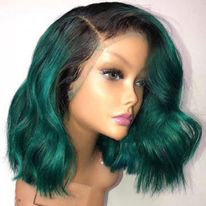 Wholesale Fashion style wavy African American Bob Wigs Short Shoulder Length Ombre Green lace front wig Synthetic hair heat resistant For Black Women