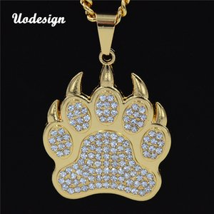 Wholesale Bear Paw Footprint Necklace Necklaces Pendants Animal Hiphop Jewelry Charms Men Women Gift