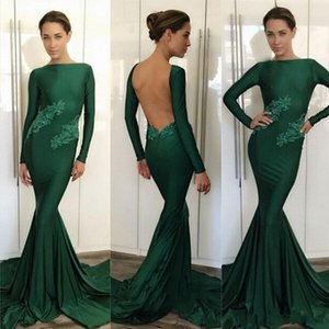 2018 Hunter Green Long Sleeves Evening Dresses Crew Neck Mermaid Lace Appliques Beaded Backless Sweep Train Sheath Prom Party Gowns Vestidos on Sale