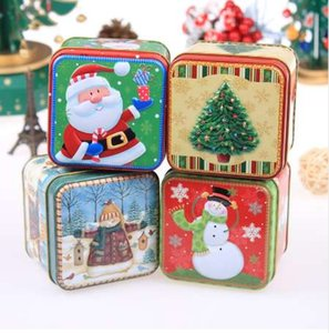 Wholesale Christmas Cartoon Storage Candy Tin Box Candy Jar Christmas Snowman Box Tea Storage Organizer Box Christmas decorations for home
