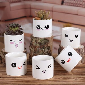 Wholesale 6 Styles Creative Ceramics Planter Flowerpot Cute Expression Garden Succulent Plants Desk Flower Pot Garden Decoration