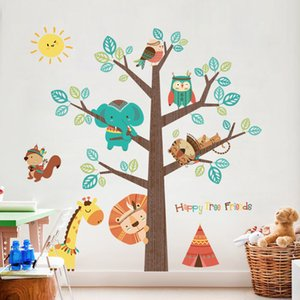 Wholesale Cheap Stickers Animal Tree Sticker Decals Children Kids Baby Room Nursery Bedroom Wall Stickers Home Decor Living Room Tree Wall Decor