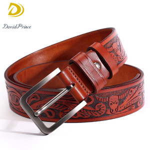 Wholesale Top Brand Leather Belt Men Vintage Bull Pattern Printing Design Unique Creative Cow Genuine Leather Men Belt with Buckle Jeans