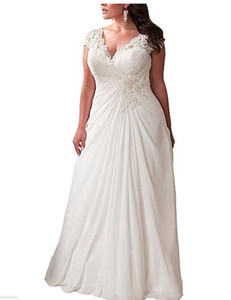 Wholesale Women s Elegant Applique Lace Wedding Dress back lace up V Neck Plus Size Beach Bridal Gowns