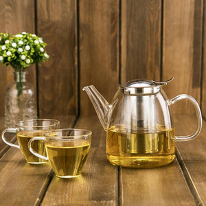 New 500-1200ml Heat-Resistant Borosilicate Glass Tea Pot Kettle Hot Cold Resistant Dual Use Bamboo Teapot for Coffee shop supplies wholesale