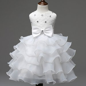 Wholesale 2019 New Fashion Girls Wedding Princess Dress Winter Formal Gown Ball Flower Kids Clothes Children Clothing Party Girl Dresses Package Mail