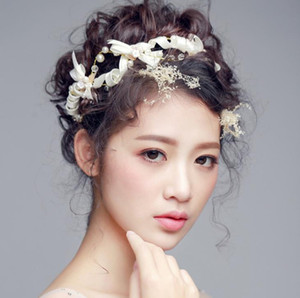 Wholesale Bridal bow tie bride hair white wedding dress accessories bridal handwork headwear