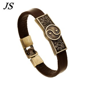 Wholesale JS Male Steampunk Yin Yang Bracelet Female Charm Tai Chi Leather Braslet Man Fashion Women Jewellery Vintage Pulsera LB087