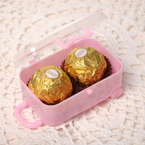 Wholesale showers ideas for sale - Group buy Candy Boxes Chocolate Box Travel Suitcase Shaped Candy Package Baby Shower Ideas Wedding Favors Party Reception