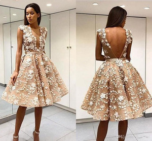 Wholesale Elegant Robe De Soiree Champagne Short Prom Dresses Sexy Open Back Lace Appliqued Knee Length Tulle Cocktail Party Dresses Formal