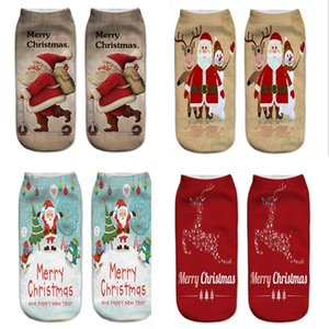 Wholesale hot santa girl for sale - Group buy 2019 Christmas socks cute D Printed Santa Claus boat socks snowman merry christmas Reindeers short ankle Sock stockings women girl gift hot