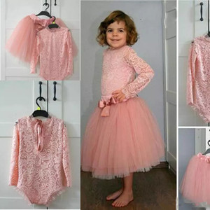 Two Pieces Lace Baby Party bodysuit Dresses Tulle Tutu Skirt blush Flower Girl Dress For Wedding Long Sleeves Kids Pageant Gowns Custom Made