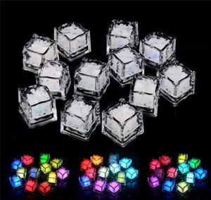 Wholesale DIY Colorful Flash LED Ice Cubes Festival Wedding Party Xmas Decor LED Night Glowing Light Drinking Ice Cubes Colors