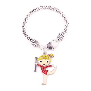 Zinc Alloy Rhodium Plated Mixed Color Crystal Cheerleader Cheer Girl Pendant Bracelet