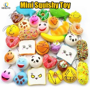 Wholesale 2018 Kawaii Squishies Donut Bun Toast Bread with Lanyard for Cell Phone Charm Straps Mixed Rare Squishy Slow Rising scented