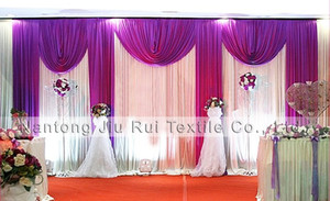 Wholesale purple curtains free shipping resale online - and Retail FT x20FT White and Purple Ice Silk Wedding Stage Curtain With