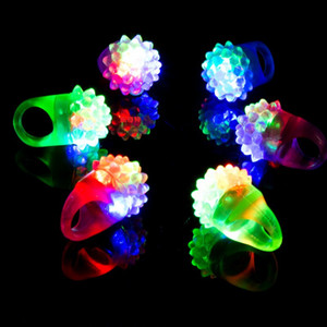 Wholesale Lumines Strawberry Ring Lamp Woman Girls Finger LED Light Up Children Toys Party Favor Festive Supplies Pure Color yl bb