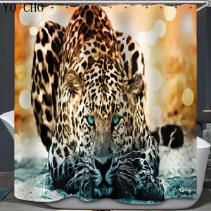 Wholesale Shower Curtain Cartoon animal Elephant Tiger Lion Design Shower Bathroom Waterproof Mildewproof Polyester Fabric With Hooks