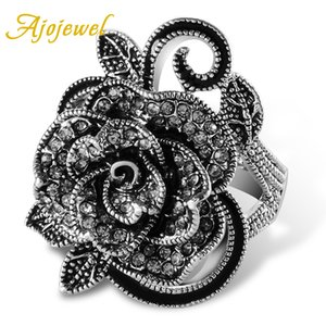 Wholesale big crystal flower ring resale online - Ajojewel Black Rose Flower Big Vintage Rings For Women Unique Retro Crystal Rhinestone Jewelry Gift