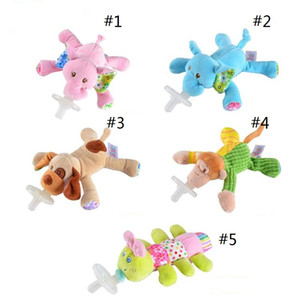 cute new creative Baby Silicone Pacifiers with Plush Animal Toys cartoon infant pacifiers Safe Baby Girls Nipples
