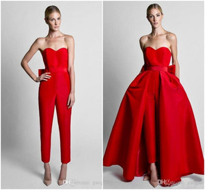 Wholesale 2019 Krikor Jabotian Red Jumpsuits Formal Evening Dresses With Detachable Skirt Sweetheart Prom Dresses Party Wear Pants for Women Hot Sale