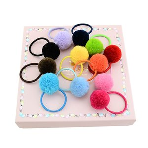 Wholesale Baby Hairband Rabbit Fur Ball Hair Pony Tail Holder headband Toddler Girl Kids Hairbands