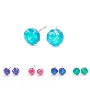 Wholesale 6mm Stainless Steel Artificial Opal Stone Stud Earrings Tiny Jewelry Dainty Mini Cute Earrings For Girl Gift