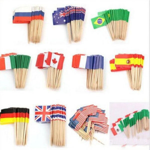 Mini Flags Paper Food Picks Toothpicks UK Australia American Flag Cupcake Decoration Fruit Cocktail Sticks Pretty Party Supplies on Sale