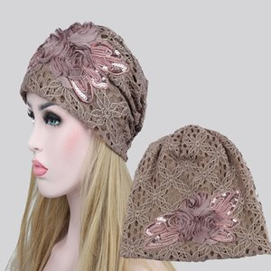Wholesale Women High Quality Lace Flower Sequins Beanie Female Butterfly Turban CheHats Skullies Beanies Autumn Winter Ladies Hat WH138