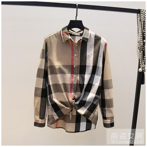 Wholesale 2018 Runway Designer Luxury Long Sleeve Shirts for Women British Plaid Shirt Casual Female Blouse Tops