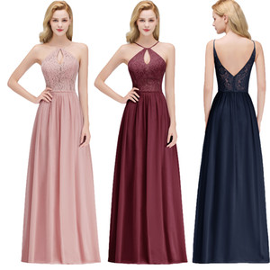 Wholesale Real Image Sexy Halter Keyhole Neck Cheap Evening Dresses Chiffon Lace Floor Length Long Formal Occasion Wear Prom Party Gown CPS1069