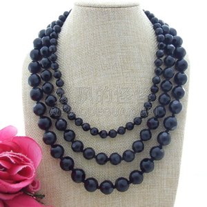 "N013040 18"" 3 Strands 8MM-14MM Faceted Onyx Necklace on Sale"