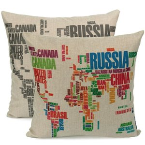 Wholesale Hot Fashion World Map Pattern Cotton Linen Square Throw Pillow Case Cushion Cover Home Bed Decor Pillowcase