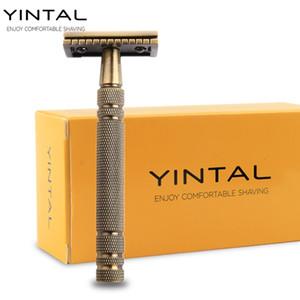 YINTAL Men's Bronze Classic Double-sided Manual Razor Long Handle Safety Razors Shaving 1 Razor Simple packing
