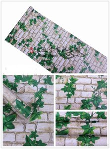 Wholesale Water Proof Wall Tile Paper Sticker Green Wallpapers Brick Leaf Autohesion Living Room Hotel Bathroom Balcony Home Decor jb ii