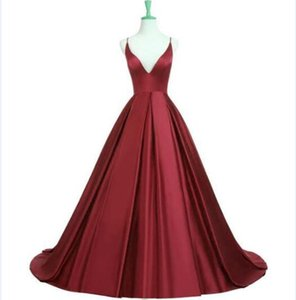 Wholesale Sexy Women Sleeveless A-Line Long Satin Evening Dresses with Pockets Vestido De Festa Pleated Strapless Criss-cross Burgundy Prom Gowns