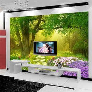Wholesale Three Dimensional Mural Living Room Tv Background Wall Cloth Flower Butterfly Forest 4d Seamless Nonwoven Paper Wallpaper 28yb gg