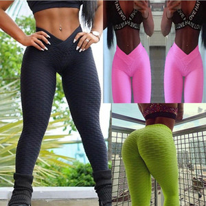 2018 V Bandage Women Gym Stretch Sport High Waist Yoga Pants Lift The Hip Fitness Sport Leggings Thigts Workout Trousers Running