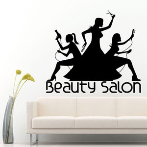 Wholesale Wall Decals Removable Hair Make Up Salon Wall Sticker Baber Shop Decoration Fashion Girl Beauty Salon Art Mural AY331