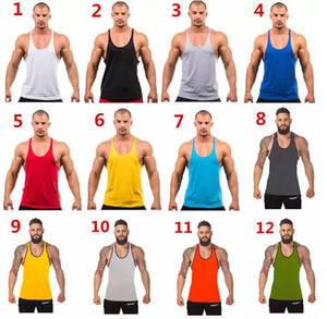 Factory direct sale ! 12 colors Cotton Stringer Bodybuilding Equipment Fitness Gym Tank Top shirt Solid Singlet Y Back Sport clothes Vest 01