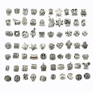 70 styles tibet Silver Big Hole Beads for European Charm Bracelets pandora Bracelets Metals Loose Beads Jewelry DIY