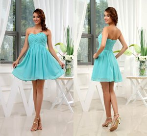 Sweetheart Chiffon Cheap Short Bridesmaid Dresses Chiffon Pleats Above Knee Length Formal Maid of Honor Dresses Wedding Guest Gowns WD3-114 on Sale