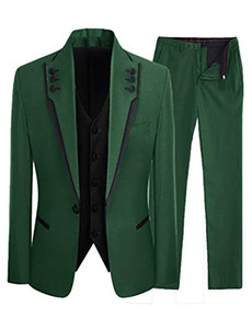Wholesale Fashion Customized Dark Green Men s Slim High Quality Brand Suit Business Groom Wedding Dress Piece Coat Pants Vest