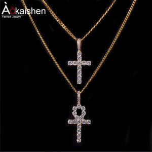 Wholesale Ankh Cross Pendant Necklace Hip Hop Jewelry Hot seller Mens Cubic Zircon for Rope Chain Colors For Drop shipping